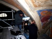 Duomo di Mondovì. Esecuzione delle analisi con lo spettrometro portatile